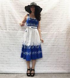 Vintage 70s Batik Phoenix Cotton Wrap Midi Dress Belted Sundress XS S M Blue White Bohemian Festival by PopFizzVintage on Etsy