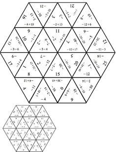 Tarsia Negative Numbers PDF: Fun Math Activities, Math Resources, Math College, Integers Worksheet, Math Coloring Worksheets, Printable Worksheets, Christmas Math Worksheets, Sixth Grade Math, Negative Numbers