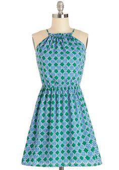 Island Vibes Dress - Green, Blue, White, Print, Cutout, Casual, A-line, Sleeveless, Good, Scoop, Short, Woven