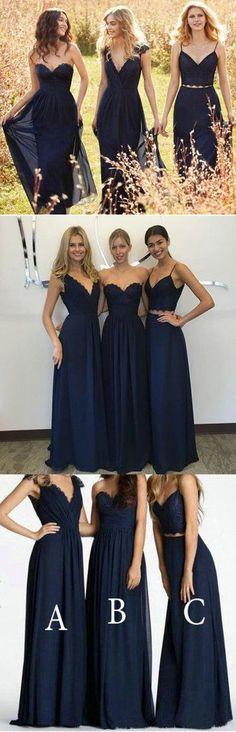 Convertible New Design Elegant Lace Chiffon Navy Blue A Line Floor-Len – SposaDesses