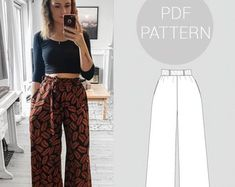 diy fashion Womens high waisted, wide leg trousers, elasticated waist and pockets Sewing Patterns Free, Free Sewing, Clothing Patterns, Pattern Sewing, Fashion Patterns, Dress Patterns, Shirt Patterns, Sewing Diy, Pattern Drafting