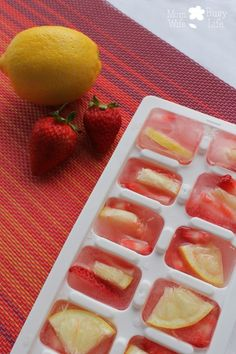 Strawberry Lemon Ice Cubes