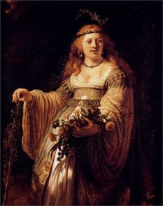 Happy Birthday to Rembrandt van Rijn! Born July 15th, 1606 Rembrandt van Rijn Saskia van Uylenburgh in Arcadian Costume (Flora) , 1635