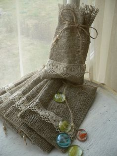 Burlap Favor Bag Natural Rustic Wedding gift with linen by MaByHa
