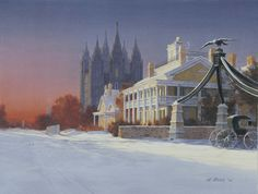 A wintry view of the Salt Lake Temple, Eagle Gate, and the Lion House on Brigham Street in 1893. In later years Brigham Street was renamed to South Temple. Salt Lake Temple, Salt Lake City Utah, Utah Temples, Lds Temples, Panning For Gold, Splash Park, Watercolor Sunset, Fine Art, Street