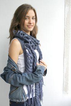 Indigo Wool  Scarf