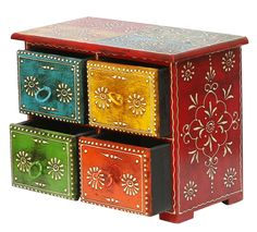 """Bulk Wholesale Handmade 9.5"""" Orange, Blue, Yellow Green Jewelry Box in Mango-Wood with 4 Drawers Decorated with Old World Cone Painting Art – Ethnic-Look Boxes from India"""