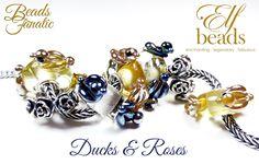 Elfbeads Gold & Midnight Ducks, Roses