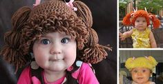 Cabbage patch inspired hats...I can't decide if this is funny or creepy...it's still pretty clever though