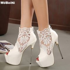 36.79$  Buy now - Brand New Peep Toe Lace Extremely High Heels Sexy Sandal High Jump Heel Metal Fashion High Platform Shoes White Ladies Shoes  #SHOPPING