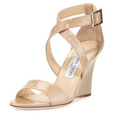 "Fearne Patent Crisscross Wedge Sandal by Jimmy Choo. Jimmy Choo patent leather sandal. 3.3"" covered wedge heel. Strap bands open toe. Crisscross vamp. Adjustable ankle strap. Leather lining and sole. ""Fearne"" is made in Italy. #jimmychoo #nudeshoes #wedges"