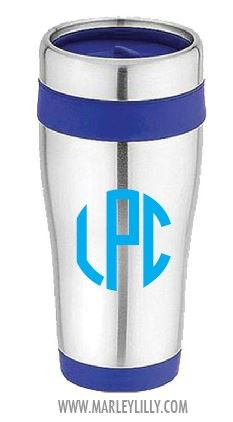Monogrammed Blue Stainless No Handle Travel Coffee Mug