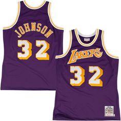 565910e8f26 Mitchell & Ness Los Angeles Lakers Magic Johnson 1984-85 Hardwood Classics  Authentic Road Jersey