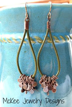 Olive green leather and copper metal earrings. -  - McKee Jewelry Designs - 3