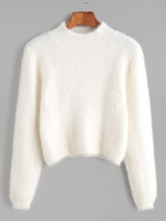 Shop White Crew Neck Crop Fuzzy Sweater online. SheIn offers White Crew Neck Crop Fuzzy Sweater & more to fit your fashionable needs.
