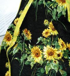 TUSCAN SUNFLOWERS  Black and Yellow 58 x 78 Lap Quilt. $165.00, via Etsy.