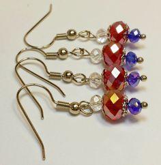 Dangle Earrings Patriotic Pride Beautiful Red by B4Jjewelrydesigns