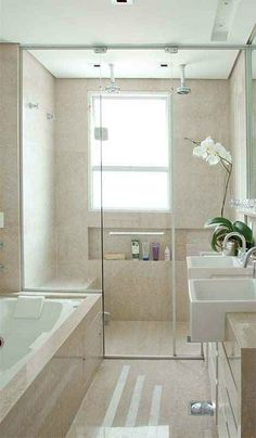 Dream Spa-Style Bathroom 30 two sinks vanity shower nice and light