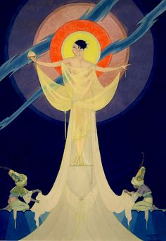 A stylized and well conceived gouache illustration painting dated 1925 by New York City artist and illustrator Robert Reid MacGuire. This art deco erotic offering features a nearly nude goddess in ...