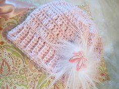 Hand Crochet Soft Pink Baby Hat with Feathers and Ballerina Slippers