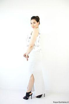 grijze maxi skirt