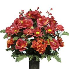 Fire Red Rose and Hydrangea Mix Artificial Bouquet, featuring the Stay-In-The-Vase Design(c) Flower Holder (LG1094) ** Click image to review more details. (This is an affiliate link) #CozyHomeDecor