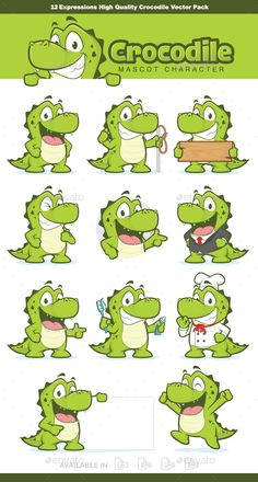 12 Expressions crocodile or alligator mascot character, High quality vector character mascot illustration. Fully customizable in A