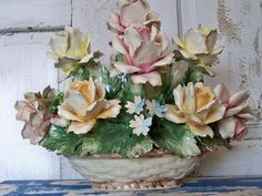 capodimonte | Collectible Italian Capodimonte porcelain basket of roses very large