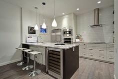 """Contemporary Kitchen with White Oak Grey White Wash 9/16"""" x 5"""" x 1.5'  Distress/Scraped Engineered Prefinished Flooring"""