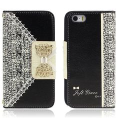 Flip Black Fresh Cute Wallet Leather Case Cover for iPhone 5S 5 5th