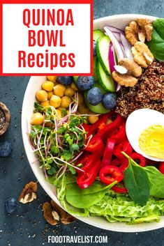 There's almost nothing easier to make than a quinoa bowl. They are healthy simple and be made for breakfast, lunch or dinner. Vegetarian or non-vegetarian doesn't matter. Once you have the main ingredient quinoa the rest is up to you and your pantry. Check out our favorite recipes. #Quinoa #EasyRecipes