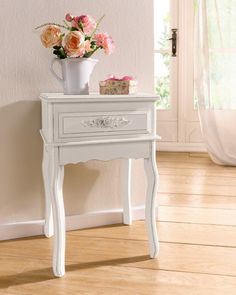 Antique White Shabby Chic Wood Console Table w/ Rosebuds #Casual