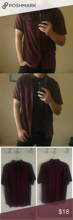Rusty Burgundy Button Down Shirt In good condition. Very comfortable. Stitching on sleeves has come off but can be easily stitched.  Smoke free, pet free home Rusty Shirts Casual Button Down Shirts