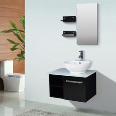Web Photo Gallery  Modern Bathroom Vanity Ceramic Sink Wall Mount Cabinet w Mirror Faucet WC