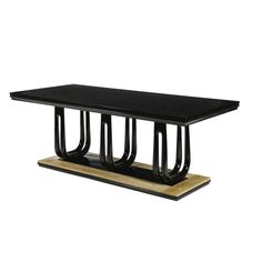 GUGLIELMO ULRICH A BLACK LACQUERED AND BROWN ONYX TABLE the rectangular top above three twin U-shaped supports, the rectangular base capped with brown onyx panels 76cm. high by 209cm. long by 94cm. wide; 2ft 6 in., 6ft 10 1/4 in., 3ft 1 in. circa 1940