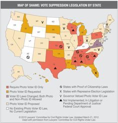 A Map of Shame Showing where Voter Suppression is taking place.