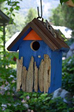 Birdhouses Handmade Woodworking Wood Blue Bird House Habitat Outdoor Garden Yard Art Ornament Driftwood Sticks - Free Shipping via Etsy