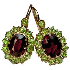 Antique Hessonite And Demantoid Garnet Gold Earrings | From a unique collection of vintage drop earrings at https://www.1stdibs.com/jewelry/earrings/drop-earrings/