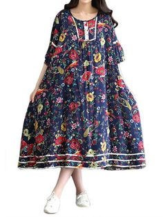 Women Retro Butterfly Sleeve Floral Linen Swing Dress