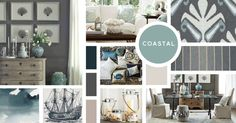 Coastal Interior Design Style | Sources from top left: William Sonoma Home, Pottery Barn, Duralee, William Sonoma Home, Crate and Barrel, Minted, Thomas Paul, Pottery Barn, William Sonoma Home
