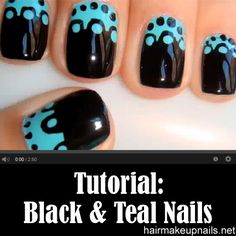 Black and Teal Nail Design For Short Nails ►► http://www.hairmakeupnails.net/black-and-teal-nail-design-for-short-nails/?i=p