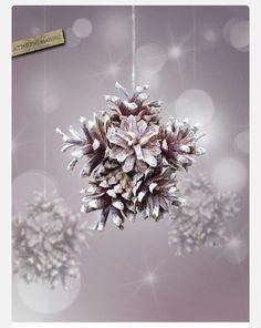 DIY snowflake with pinecones