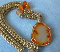 Carnelian natural stone wire wrap pendant, handmade wire wrapped jewelry, chainmaille necklace, chunky necklace, gypsy