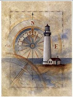 sea, lighthouse, compass  Many scrapbook papers for collage