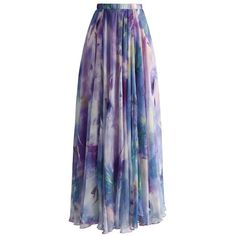 Chicwish Dancing Watercolor Floral Maxi Skirt in Violet (153.585 COP) ❤ liked on Polyvore featuring skirts, bottoms, maxi skirt, blue, floral print maxi skirt, long skirts, blue floral skirt and purple skirt