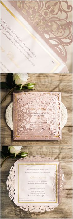 pink and gold wedding colors inspired laser cut elegant wedding invitations with foil stamped design ewws110
