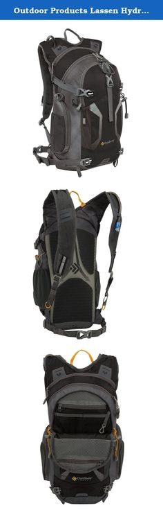 Outdoor Products Lassen Hydration Pack, Black. This Outdoor Products technical hydration hike pack carries everything you need on the trail or a 3+ long ride and includes a 16.9L reservoir. It has a large main compartment, zippered overflow pockets, adjustable shoulder straps, lightweight quick release waist belt, two stretch mesh side pockets to stash extra water bottles and an easy-access front organizer pocket for your smartphone, energy bar or other accessories.