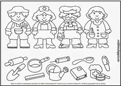 Crafts,Actvities and Worksheets for Preschool,Toddler and Kindergarten.Lots of worksheets and coloring pages. Grade R Worksheets, Preschool Learning, Kindergarten Worksheets, Community Helpers Kindergarten, Community Helpers Worksheets, Coloring For Kids, Coloring Pages, Teaching Emotions, Community Jobs