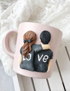 Fathers Day Mugs, Valentines Day Gifts For Him, Polymer Clay Crafts, Diy Clay, Crea Fimo, Unusual Presents, Personalized Gifts For Dad, Clay Cup, Mason Jars