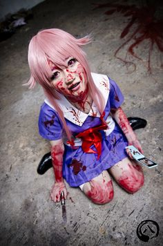 Yuno, Mirai Nikki. Haven't seen this anime yet, but holy shit. That is awesome.